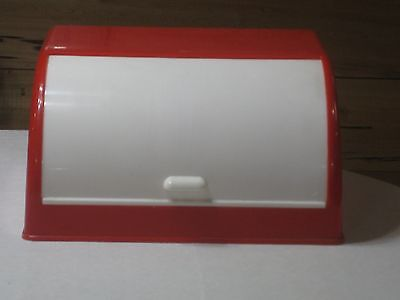 Vintage Red & White Plastic with Sliding Roll Top  Bread Box