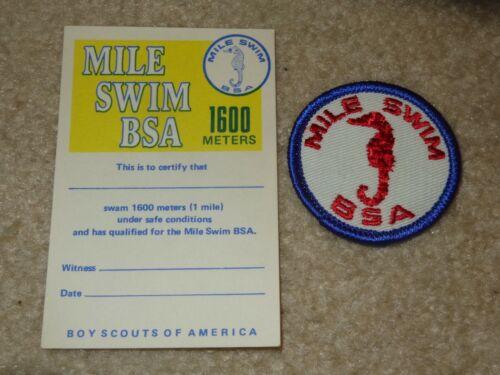 Boy Scout BSA Mile 1600 Meters Swim Award Merit Badge Uniform Patch with Card