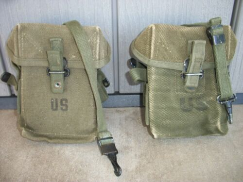 Set of (2) USGI M1956 Ammo Pouch Case Magazine Canvas 1959 & 1966
