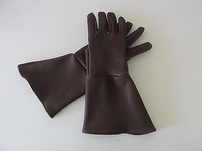 MEN'S DARK BROWN TOP GRAIN DEERSKIN GAUNTLET GLOVES - MADE IN USA - Grain Deerskin Glove