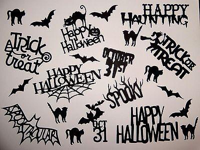 10 piece Halloween theme words and bat/cat scrapbook die cuts greeting die cut