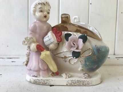 Vintage Retro Ceramic Angel Cherub & Coin Purse*. Made Japan