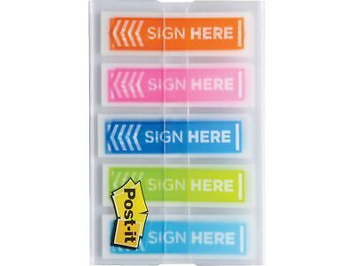 Post-it Sign Here Printed Flags .47 X 1.7 Assorted Colors 1678506
