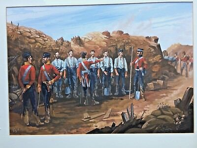 Crimean war Soldiers in trenches Gouache painting signed Ray 98