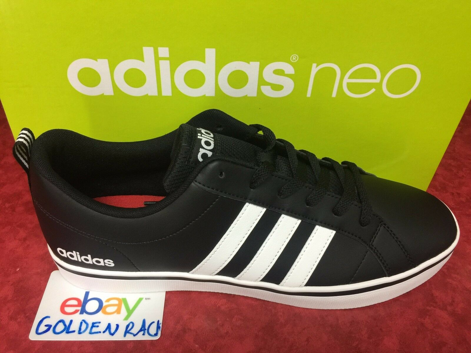 Adidas Neo Vs Pace B74494 Men's Black White Leather Shoes Size ...