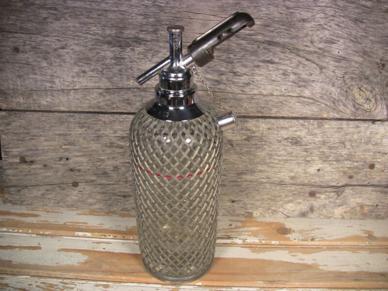 Vintage Seltzer Bottle Soda Siphon Wire Mesh Czech Glass Sparklets New York