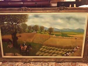 Large signed harvesting oil painting