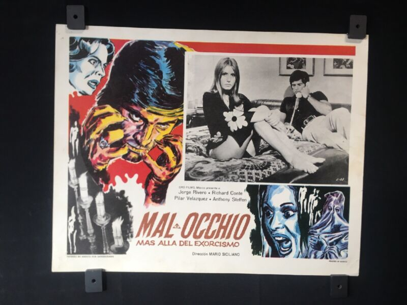 "Vintage MAL OCCHIO Jorge Rivero Authentic Mexican Lobby Card 14""x11"""