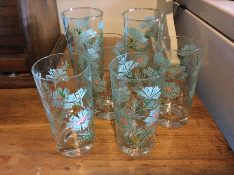 Vintage Blue Cornflower Glasses set of 6 Tumblers Lemonade Drinks