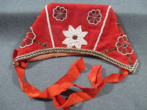 Vintage Hardanger Norway bunad ethnic folk costume hand  beaded red felt hat