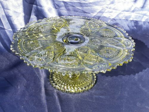 "Imperial Glass ""Fashion"" 13"" Green Round Cake Stand"