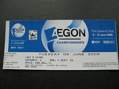 Aegon Championships  Queens Club  Unused Ticket  09 06 2009