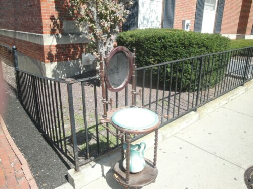 VTG ANTIQUE WASH BASIN STAND TWISTED WOOD W/MIRROR PITCHER BOWL & CANDLE STICKS
