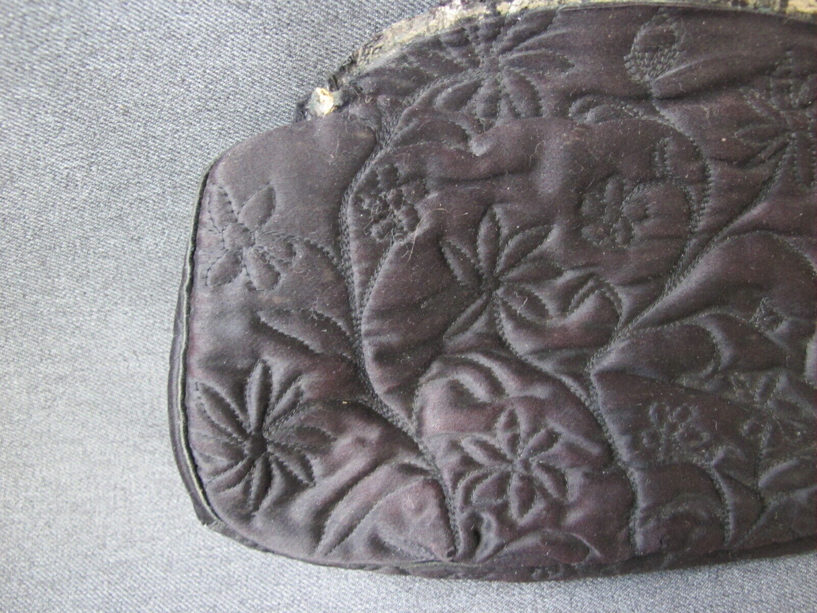 Antique Embroidery Double Sided Flowers Leaves Black Silk Bag For Purse Repurp - $4.99