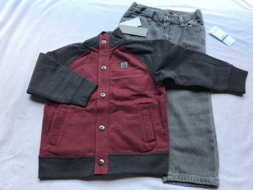 Calvin Klein 3pc Boy 24 Month Jacket Sweater Shirt Jeans Bir
