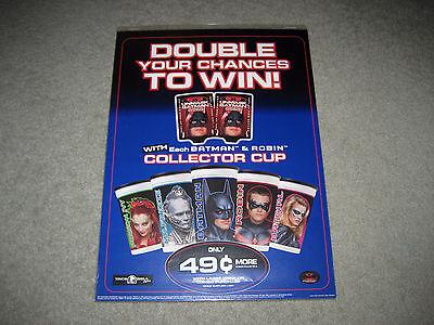 1997 Taco Bell Batman Robin Movie Batgirl Ivy Plastic Collector Cup Sign Display