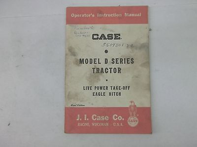 Case Model D Series Tractor Live Power Take Off Eagle Hitch Operators Manual