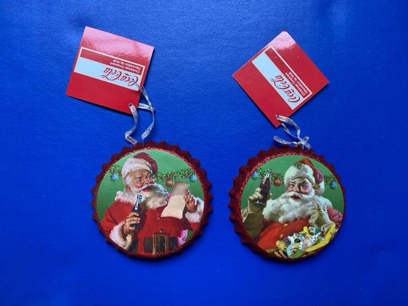 Coca-Cola Santa Bottle Cap Ornament 2 Set New Christmas Decor