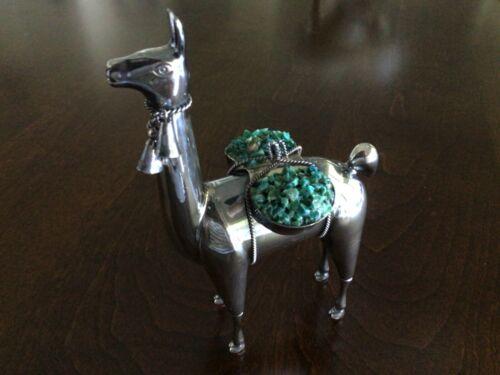 Sterling Silver Alpaca Llama Figure Saddle with Turquoise Marked Ilaria 925