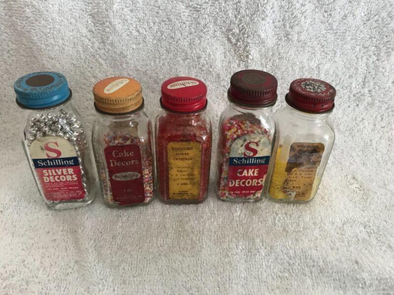 Vintage Schilling Cake Decors Glass Spice Bottle Sprinkles Set of 5