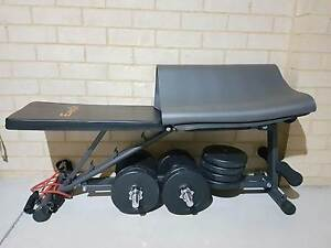 Flat Incline Press Gym FID Bench with weights 35kgs Ellenbrook Swan Area Preview