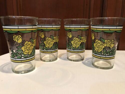 Set of 4 Whataburger Texas Birthday Glasses Yellow Roses 1986   M263
