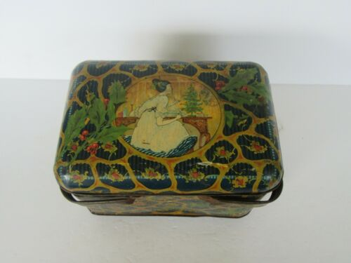 RARE Antique Sensation Tobacco Basket Christmas Tin, Mistletoe, Woman, Tree