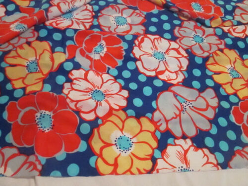 "Vtg Fabric Multi Print Navy Red Yellow Flowers Antron Nylon 4 yards 45"" 1960"