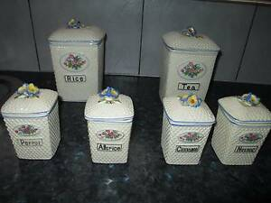 Retro / Vintage set of 6 ceramic kitchen canisters Golden Grove Tea Tree Gully Area Preview