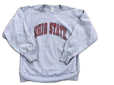 Vtg 90s Ohio State University Champion Reverse Weave Gray Sweatshirt Size XL