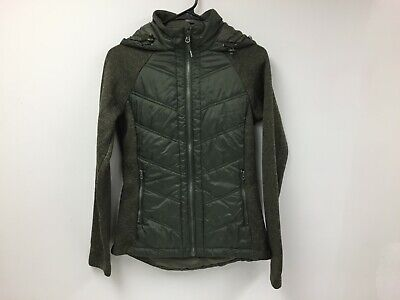 Mondetta Women's Full Zip Quilted Jacket Small Pockets Hooded Casual Coat -