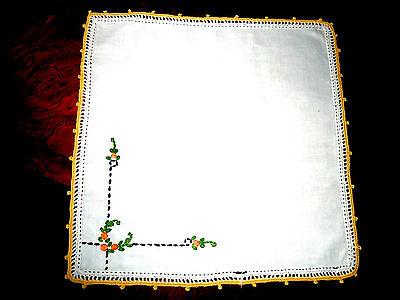 wunderschönes Taschentuch breite Häkelspitze Hohlsaum schöne Stickerei