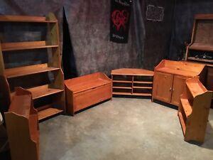 6 piece solid pine wood living room set