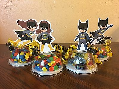 Batman Batgirl Superhero Party Favors Candy Containers Set Of 8 (EMPTY) - Batgirl Party Favors