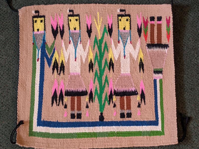 Antique Navajo Yei Bi Chei Corn Women Rug