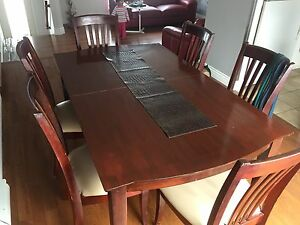 Cherry wood dining set and  6 leather chairs