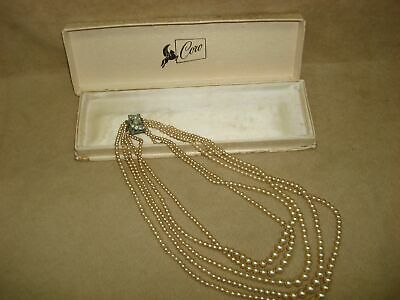 1950s Jewelry Styles and History VINTAGE 1950'S ERA 5 STRAND GRADUATED GOLDEN PEARL NECKLACE ORIGINAL