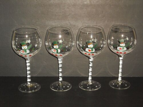 Home Elements & Beyond Snowman Wine Beverage Footed Goblets /4 Hand Painted