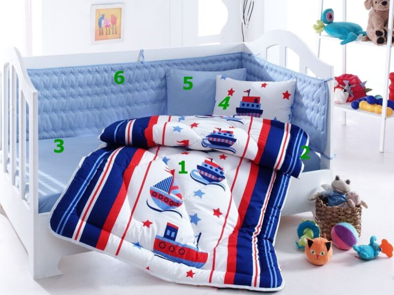 Nautical Crib Bedding Baby Boys Quilt Toddlers Bed 6pcs Set