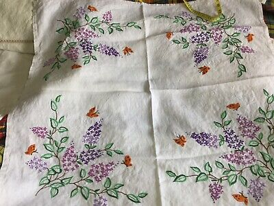 Vintage Hand Embroireded Linen Tablecloth With hydrangea & Butterflies