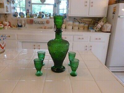 Beautiful Vintage Taiwan Green Glass Wine Liquor Decanter Set Of 5