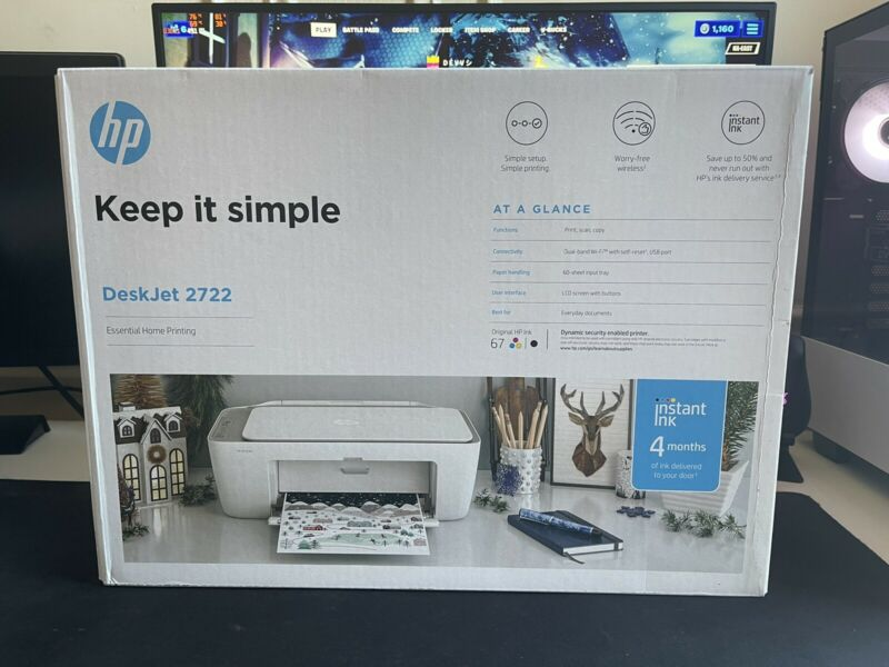 NEW HP DeskJet 2722 All-in-One Wireless Color Inkjet Printer – FAST SHIP!