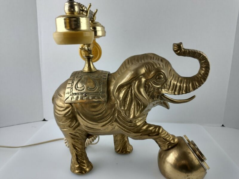 Heavy Brass Elephant Rotary Telephone Hollywood Regency Phone
