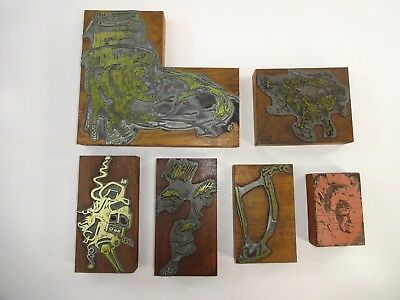 Vtg Lot Of 6 Printers Block Printing Letterpress Abstrat Art Deco Woodmetal