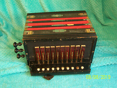 Vintage Hohner 1 row Accordion button box Accordian 3 reeds Germany key of Ab