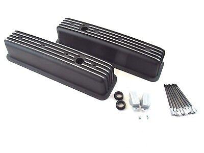 Chevy 350 383 Tall Alum. Finned Center Bolt Vortec Valve Cover Black -