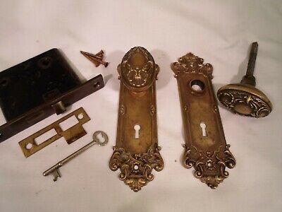 Antique Y&T Brass Oval Door Knob Set  Mortise Lock & key doorz2.co covid 19 (Oval Knob Antique coronavirus)