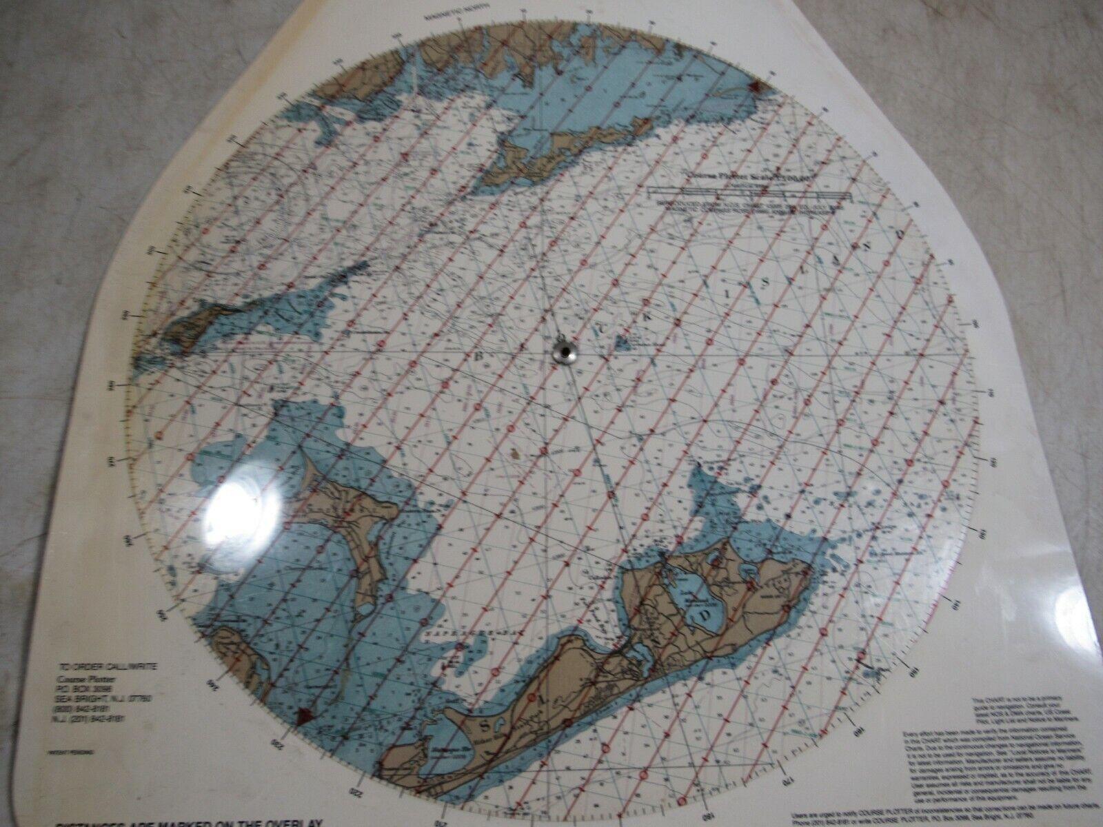 Vintage Waterproof Loran-C Overprinted Course Plotter Chart Block Island Sound