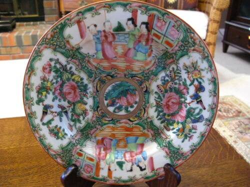 "Antique Chinese Porcelain Hand Painted Plate Guangcai 9 3/4"" Diameter"