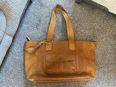 HIDESIGN Vintage Genuine Leather Tan Large Handbag Grab Bag Shoulder